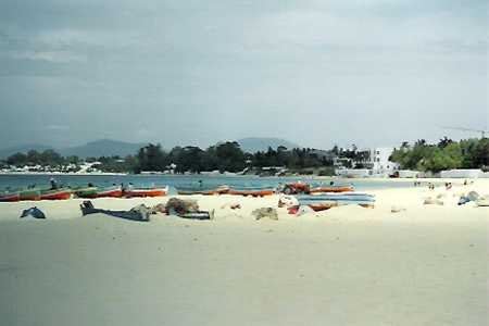 The wide beach at Hammamet is right next to the Medina, and fishing boats